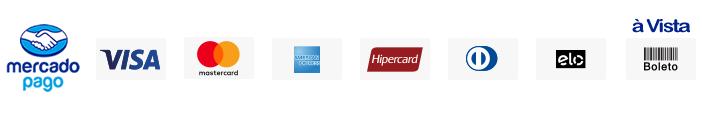 Meios de Pagamento - MercadoPago (Visa, Mastercard, American Express, Hipercard, Dinners, Elo e Boleto à vista)